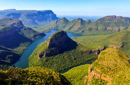 Blyde River Canyon in Mpumalanga, South Africa  The Blyde River Canyon is the third largest canyon worldwide Stock Photo
