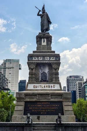 Monument to Cuitlahuac along Paseo de la Reforma in Mexico City, Mexico  Cuitláhuac was the leader of the Aztec city of Tenochtitlan during the Spanish Conquest
