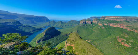 Blyde River Canyon and The Three Rondavels  Three Sisters  in Mpumalanga, South Africa  The Blyde River Canyon is the third largest canyon worldwide Stock Photo - 22237140