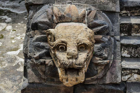 Headstone along an ornamental stairway of a pyramid in Teotihuacan, Mexico, once venerated by the Aztecs  Stock Photo