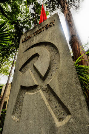 exile: Memorial and Tomb of Leon Trotsky, the Soviet Revolutionary who lived out his life in exile in Mexico until assassination by men sent by Stalin