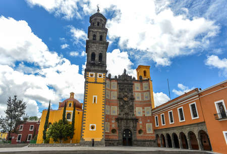Church of San Francisco  Templo de San Francisco  of Puebla, Mexico  Built of quarry tile and brick, the temple was completed in 1767