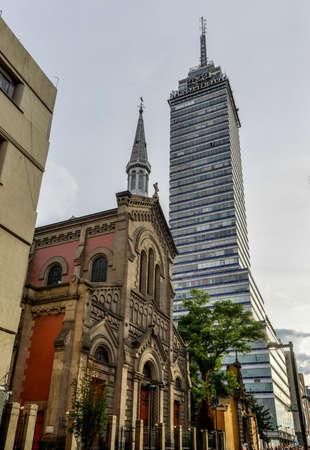 Latinoamericana Tower  Torre Latinoamericana  with the Templo Expiatorio Nacional de San Felipe de Jesús in the foreground  Near the Zocalo, in Mexico City  Editorial