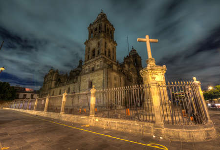 Mexico City Metropolitan Cathedral  Catedral Metropolitana de la Asuncion de Maria  at night  It is the largest and oldest cathedral in the Americas, built in 1573-1813  Stock Photo