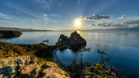 Shaman Rock, Island of Olkhon, Lake Baikal, Russia on a Summer Day