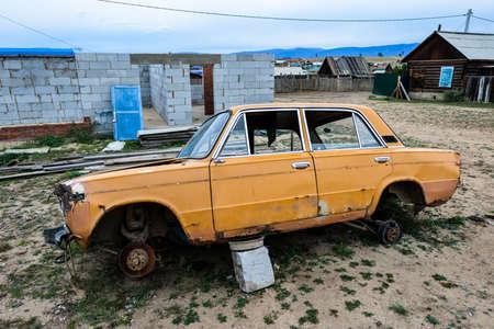 russian car: Old Broken Down Russian Car in the town of Khuzir, Lake Baikal, Russia