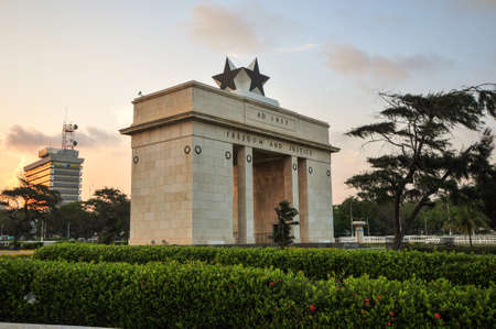 The Independence Square of Accra, Ghana, inscribed with the words  Freedom and Justice, AD 1957 , commemorates the independence of Ghana, a first for Sub Saharan Africa  It contains monuments to Ghana