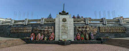 ulan ude: Victory Park, Ulan-Ude with a tank memorial  Commemorating the Soviet Victory in World War II  Stock Photo