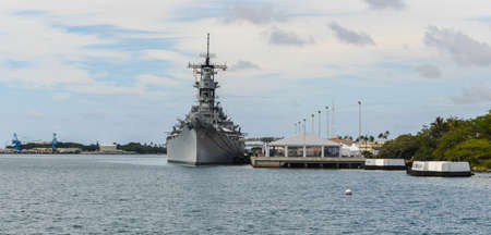 The Battleship USS Missouri at anchor in Pearl Harbor, Hawaii