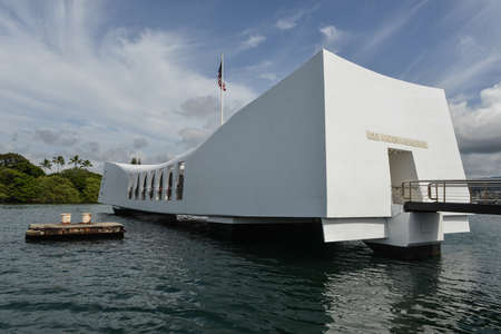 USS Arizona Memorial Pearl Harbor Hawaii  Positioned directly over the remains of the ship that continues to release oil