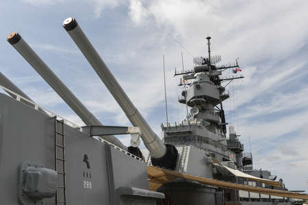 pearls: The Battleship USS Missouri at anchor in Pearl Harbor, Hawaii