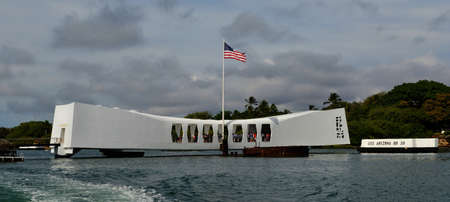 ports: USS Arizona Memorial Pearl Harbor Hawaii  Positioned directly over the remains of the ship that continues to release oil  Stock Photo
