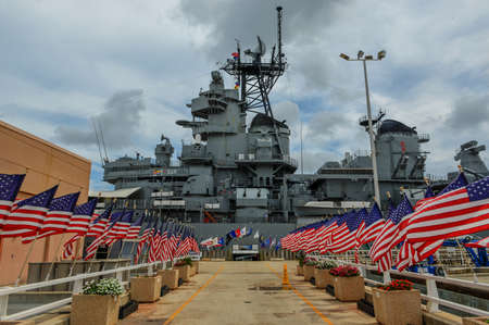 harbor: The Battleship USS Missouri at anchor in Pearl Harbor, Hawaii