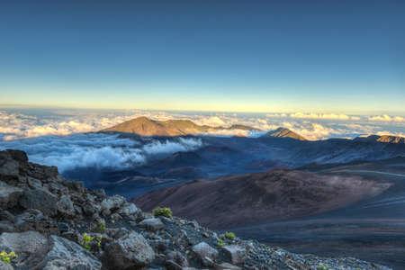 Caldera of the Haleakala volcano  Maui, Hawaii  at sunset