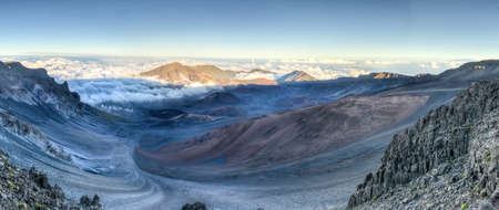 polynesia: Caldera of the Haleakala volcano  Maui, Hawaii  at sunset