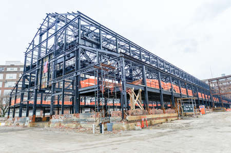 empty warehouse: Empty warehouse factory steel shell under construction  Editorial
