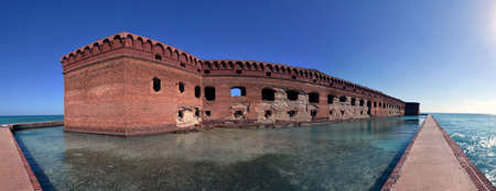 fort jefferson: Panoramic view along the moat of Fort Jefferson in Tortugas National Park