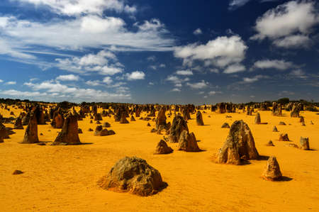 The Pinnacles in the Nambung National Park, Western Australia. The Pinnacles are limestone formations contained within Nambung National Park, near the town of Cervantes, Western Australia. Stock Photo