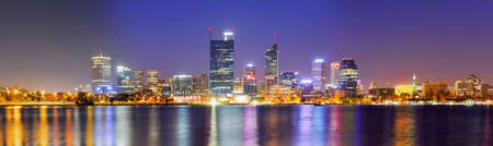 Panoramic View of the Perth Skyline at Night reflected in the Swan River
