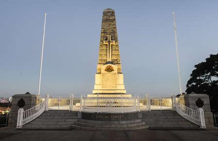 Cenotaph of the Kings Park War Memorial in Perth, Australia at dusk  photo