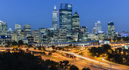 Skyline of Perth, Australia at dusk from Kings Park Editorial