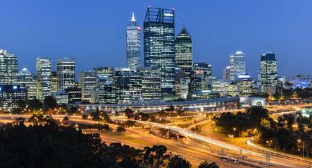 Skyline of Perth, Australia at dusk from Kings Park