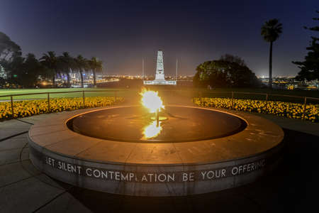 Wide angle view of the War Memorial and Eternal Flame in Kings Park, Perth, Australia at dusk