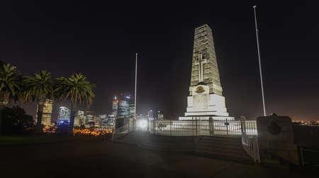 Cenotaph of the Kings Park War Memorial in Perth, Australia  at dusk