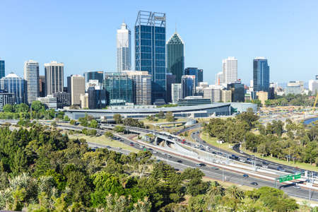Skyline of Perth, Australia during the day from Kings Park