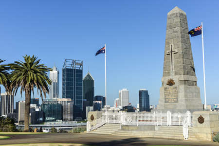Cenotaph of the Kings Park War Memorial in Perth, Australia and City Skyline during daytime
