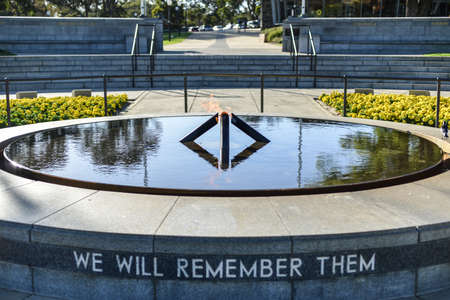 Eternal Flame in Kings Park, Perth, Australia  With the inscription  We Will Remember Them