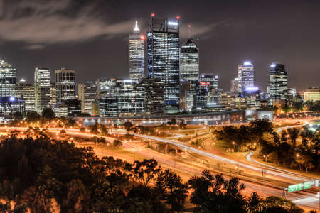 Skyline of Perth, Australia at dusk from Kings Park