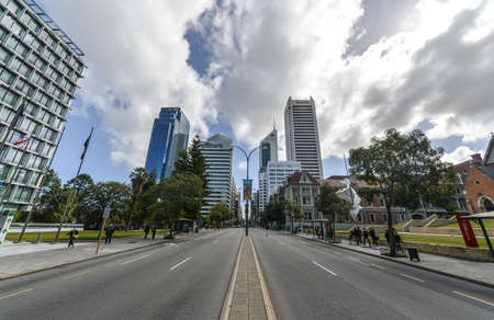 View of St Georges Terrace, the main street in the city of Perth, Western Australia  It runs parallel to the Swan River and forms the major arterial road through the central business district Editorial