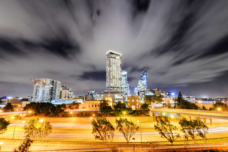 The Perth Skyline from Parliament House at Dusk  Long exposure with light streaks  Stock Photo