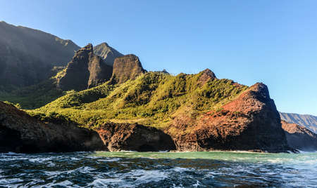 ridge of wave: Na Pali Coast as seen from off shore Stock Photo