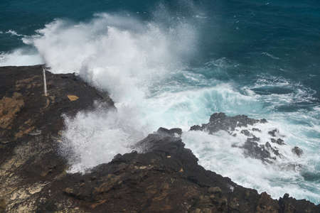 blow hole: Halona Blow Hole on a clear, sunny day at Oahu, Hawaii. Stock Photo