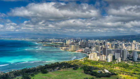 Honolulu and Mamala Bay taken from top of Diamond Head State Monument, Hawaii.