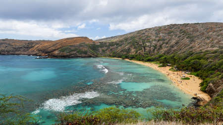 Hanauma Bay in Oahu, Hawaii. Formed in a volcanic crater. photo