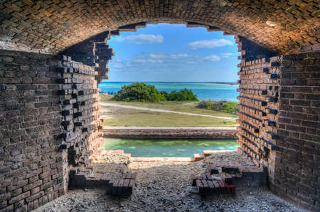 fort jefferson: Window to the ocean at Fort Jefferson at the Dry Tortugas National Park outside Key West, Florida  Fort Jefferson was built to protect one of the most strategic deepwater anchorages in North America