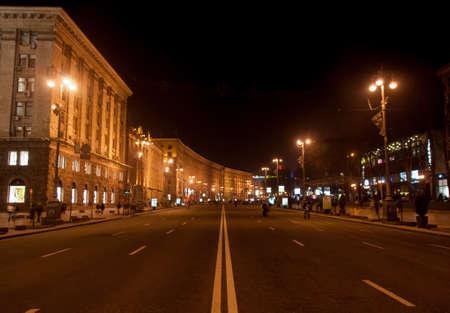 kyiv: Khreshatyk Street at Night on a weekend in Kiev  Khreshatyk Street is the main boulevard of Kiev, Ukraine