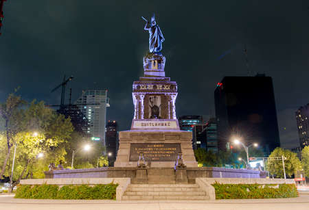 paseo: Monument to Cuitláhuac along Paseo de la Reforma in Mexico City, Mexico  Cuitláhuac was the leader of the Aztec city of Tenochtitlan during the Spanish Conquest  Editorial
