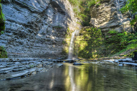 eagle falls: Eagle Cliff falls at Havana Glen in New York. A beautiful short gorge in the Finger Lakes region. Stock Photo