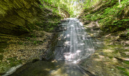 excelsior: Excelsior Glen Falls, just outside of Watkins Glen, New York, in the Finger Lakes Region. Stock Photo