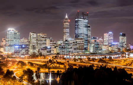 western australia: Skyline of Perth from Kings Park with a view of John Oldany Park at night