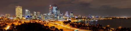 Panoramic view of the Skyline of Perth from Kings Park at night