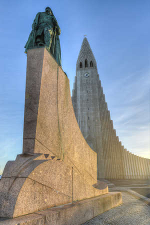 leif: Hallgrimskirkja Cathedral in Reykjavik, Iceland.  The Lutheran (Church of Iceland) parish church in Reykjavik, Iceland. At 73 metres (244 ft), it is the largest church in Iceland.