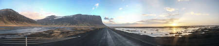 Highway 1  ring road  in the southern region of Iceland with glaciers in the distance  photo