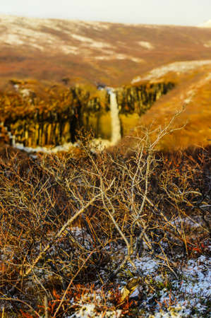Svartifoss Water in Early Winter  Svartifoss  Black Fall  is a waterfall in Skaftafell in Vatnajökull National Park in Iceland, and is one of the most popular sights in the park  photo