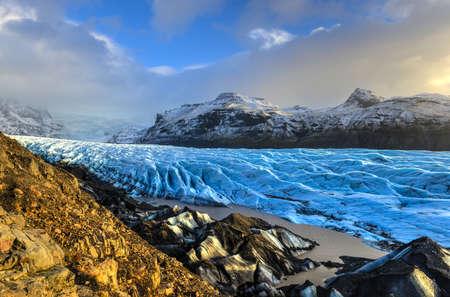 Skaftafellsjokull Glacier in Iceland, part of Vatnajoekull National Park  Stock Photo