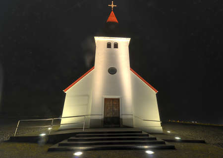 Typical Icelandic Church in Vik - Charming little town in Southern Iceland  photo